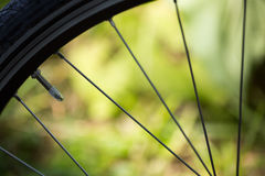 Bycycle spokes with a green backround in the sunshine Stock Photography