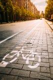 Bycycle-Verkehrsschild, Fahrbahnmarkierung des Fahrrad-Weges entlang Allee oder Lizenzfreie Stockfotografie