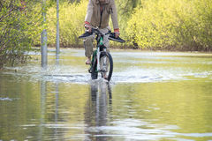 Bycyclist with naked feet try to overcome water. During a flood in springtime.Road under water as river burst it banks Royalty Free Stock Photo