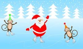 Byczy Święty Mikołaj i dwa małpy jeździć na łyżwach na lodzie Obraz Stock