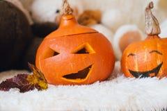 Byczy dyniowy śmiać się na Halloween fotografia stock