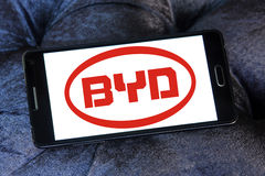 Byd motors logo. Logo of chinese byd car brand on samsung mobile Stock Photos