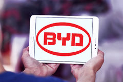 Byd motors logo. Logo of chinese byd car brand on samsung tablet Stock Photo