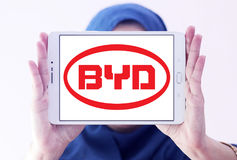 Byd motors logo. Logo of chinese byd car brand on samsung tablet holded by arab muslim woman Royalty Free Stock Photos