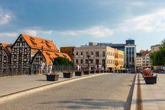 Bydgoszcz, Польша, 31-ое мая 2018: Старый городок в Bydgoszcz Bydgoszcz архитектурноакустически богатый город, с нео-готическим,  стоковое изображение