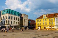 Bydgoszcz, Польша, 31-ое мая 2018: Старый городок в Bydgoszcz Bydgoszcz архитектурноакустически богатый город, с нео-готическим,  стоковое фото rf