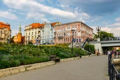 Bydgoszcz, Польша, 31-ое мая 2018: Старый городок в Bydgoszcz Bydgoszcz архитектурноакустически богатый город, с нео-готическим,  стоковые изображения