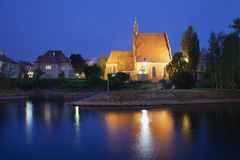 Bydgoszcz Cathedral and Brda River by Night Stock Photography