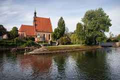 Bydgoszcz Cathedral and Brda River Royalty Free Stock Photography