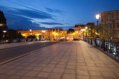 Bydgoszcz City Skyline by Night in Poland Stock Photo