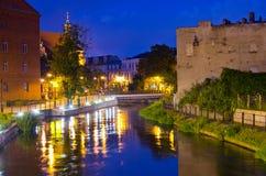Bydgoszcz durante la notte, Polonia immagini stock