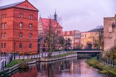 BYDGOSZCZ, POLAND 2017. 11. 14 Architecture of Bydgoszcz city at Brda river in Poland, beautiful neo-gothic architecture, and acro Stock Photography