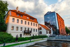 Architecture of Mill Island in Bydgoszcz city at Brda river, Poland. Bydgoszcz, Poland, May 31, 2018: Architecture of Mill Island in Bydgoszcz city at Brda river stock image