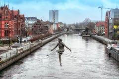 BYDGOSZCZ, POLEN 2017 11 14 architectuur van Bydgoszcz-stad bij Brda-rivier in Polen, mooie neogotische architectuur, en acro Stock Foto's