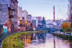 BYDGOSZCZ, POLEN 2017 11 14 architectuur van Bydgoszcz-stad bij Brda-rivier in Polen, mooie neogotische architectuur, en acro Royalty-vrije Stock Foto
