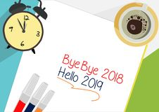 Bye - bye 2018 - begrepp för Hello 2019 plansymbol royaltyfri illustrationer