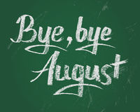 Bye bye August, vector chalk text on green board. Bye bye summer, card. Vector chalk text on green board for new stading year Stock Photo