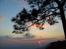 Bye Bye my sun. Sunsetview from the top of mountain in Thailand Stock Photography