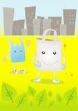 Bye Bye Plastic Bag in the City vector illustration