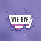 Bye-bye. Retro design element in pop art style on halftone color. Ful background. Vintage motivation ribbon banner. Vector Illustration Royalty Free Stock Photos