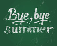 Bye bye summer, vector chalk text on green board. Bye bye summer, card. Vector chalk text on green board for new stading year Royalty Free Stock Photos