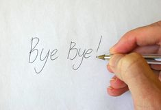 Bye Bye! Writing Hand Royalty Free Stock Image