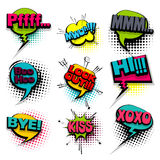Bye hi kiss set colored comics book balloon Royalty Free Stock Photo