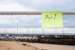 Bye message on the port Stock Image