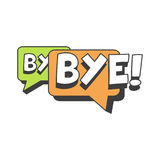 Bye short message, speech bubble in retro style vector Illustration. Isolated on a white background Royalty Free Stock Image