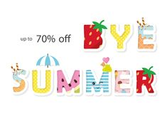 Bye summer sale banner. Funny cartoon letters. Vector. Illustration Stock Image