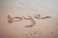 Bye written on sand Royalty Free Stock Images