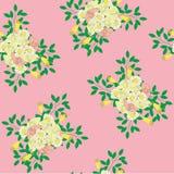Byellow do ramalhete e teste padrão cor-de-rosa das rosas Foto de Stock