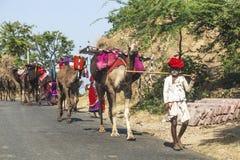 Byfolk med kamel som går på en gata nära Pushkar, Indien Arkivbilder