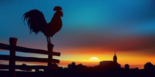 Bygd - landskap på soluppgång - tupp - by - lantgård - Frankrike stock illustrationer