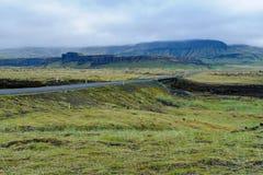 Bygd och landskap nära Kirkjubaearklaustur Fotografering för Bildbyråer