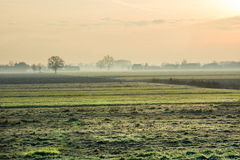 Bygd på soluppgång Fotografering för Bildbyråer