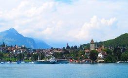 Bygdgräsplanlutning med schweiziska byar över sjön fotografering för bildbyråer