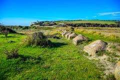 Bygdlandskapet på vägen till sju systrar i söder besegrar nationalparken, East Sussex, Eastbourne, UK arkivbilder
