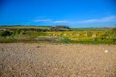 Bygdlandskapet på vägen till sju systrar i söder besegrar nationalparken, East Sussex, Eastbourne, UK arkivbild