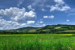 Bygdsikt av Tuscany, Volterra, Italien Arkivfoton