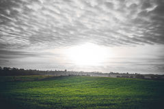 Bygdsoluppgång med gröna fält Arkivfoton