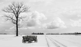 Bygdvinterplatsen av ett gammalt trä kastar vagnsammanträde bredvid ett ensamt kalt träd i vintertid Royaltyfri Fotografi