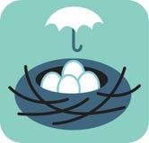 Bygga bo av ägg med paraplyet över det Royaltyfri Illustrationer