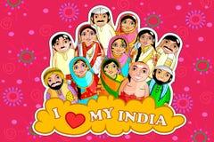 Bygga bo indiska par för docka som föreställer olik kultur från olika tillstånd stock illustrationer