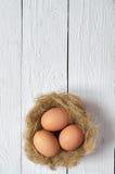 Bygga bo med ägg på vit träplankabakgrund Arkivbilder