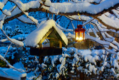 Bygga boask i vintern Arkivbilder