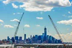 Bygga en stad - unikt perspektiv av New York horisont Arkivfoto