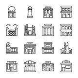 Byggande arkitekturer fodrar symboler royaltyfri illustrationer