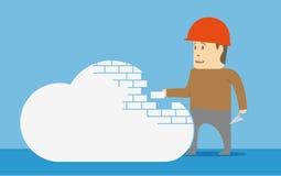 Byggande av ett moln text för rest för bild för com-begreppsfigurine höger plattform Arkivfoto