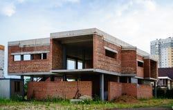 Byggande av ett nytt europeiskt stilhus arkivfoto